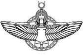Animation portrait of the ancient Egyptian winged goddess The linear drawing isolated on a white background Vector illustration be used for coloring book