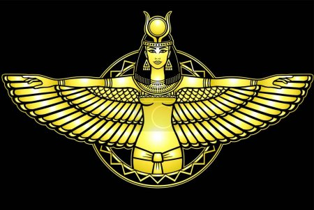 Animation portrait of the ancient Egyptian winged goddess.  Yellow drawing isolated on a black background. Gold imitation. Vector illustration. Print, poster, t-shirt, card.