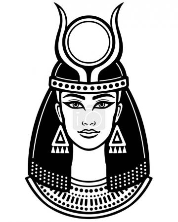 Animation portrait of the ancient Egyptian horned goddess. The linear drawing isolated on a white background. Vector illustration.