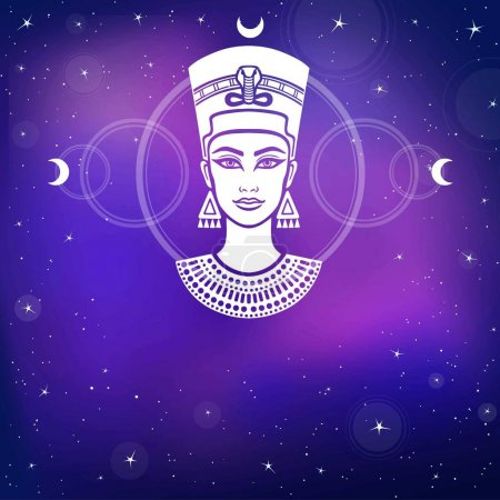Animation portrait of the beautiful Egyptian woman. Background - the night stellar sky. Mystical symbols. Sacred geometry. Vector illustration.