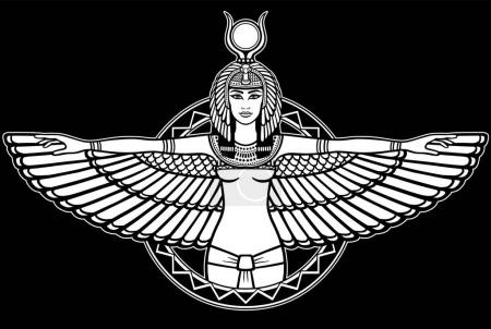 Animation portrait of the ancient Egyptian winged goddess. The white drawing isolated on a black background. Vector illustration.