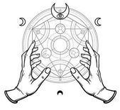 Human hands touch an alchemical circle Mystical symbols sacred geometry Vector illustration isolated on a white background