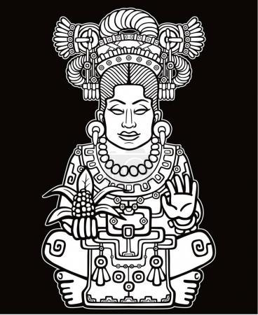 Illustration pour Portrait animé de la déesse païenne basé sur des motifs d'art amérindien. Dessin monochrome isolé sur fond noir. Illustration vectorielle . - image libre de droit