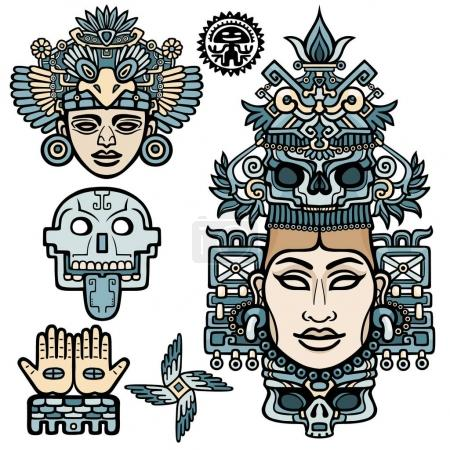 Set of graphic elements based on motives of art Native American Indian. Animation stylized images of ancient gods, idols, deity. Color drawing isolated on a white background.  Vector illustration.