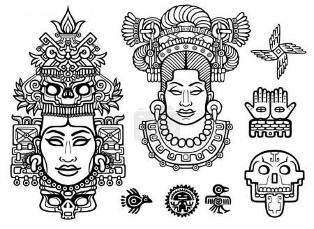 Set of graphic elements based on motives of art Native American Indian. Animation stylized images of ancient gods, idols, deity. Linear drawing isolated on a white background. Vector illustration.