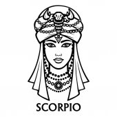 Zodiac sign Scorpio Fantastic princess animation portrait Vector monochrome illustration isolated on a white background