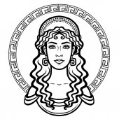 Linear portrait of the young Greek woman with a traditional hairstyle Decorative circle Vector illustration isolated on a white background