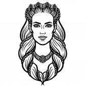Portrait of the woman of the Valkyrie Linear drawing Vector illustration isolated on a white background
