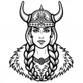 Portrait of the beautiful young woman Valkyrie Pagan goddess mythical character Linear black the white drawing Vector illustration isolated on a white background