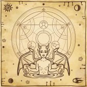Alchemical drawing: little demon circle of a homunculus Esoteric mystic occultism Symbols of the sun and moon Background - imitation of old paper Vector illustration