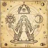 Alchemical drawing: young beautiful woman Eve's image fertility temptation Esoteric mystic occultism Symbols of the sun and moon Background - imitation of old paper Vector illustration
