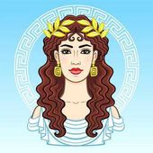 Animation portrait of the young beautiful Greek woman in ancient clothes in a laurel wreath Decorative circle The vector illustration isolated on a blue background