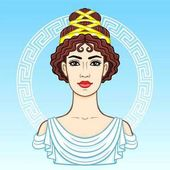 Animation portrait of the young beautiful Greek woman in ancient clothes Decorative circle The vector illustration isolated on a blue background