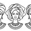 Set of portraits  the African women in various tur...