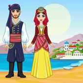 Animation portrait of a family in ancient Greek clothes Full growth Background - a sea landscape mountains the old city port Vector illustration