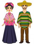 Animation portrait of the Mexican family in ancient festive clothes Full growth Vector illustration isolated on a white background