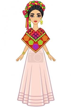 Animation portrait of the young beautiful Mexican girl in ancient clothes. Full growth. The vector illustration isolated on a white background.
