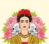 Portrait of the beautiful Mexican woman in  ancient  clothes human skulls a background - the stylized roses Boho chic ethnic vintage Vector illustration isolated Print poster t-shirt card