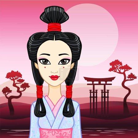 Portrait d'animation de la jeune fille japonaise une ancienne coiffure. Geisha, Maiko, Princesse. Contexte - un paysage de montagne du soir, porte sacrée. Illustration vectorielle. Place pour le texte .