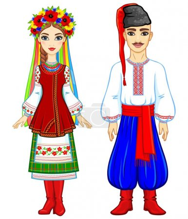 Animation portrait of the Ukrainian family in national  clothes. Full growth. Eastern Europe. Vector illustration isolated on a white background.