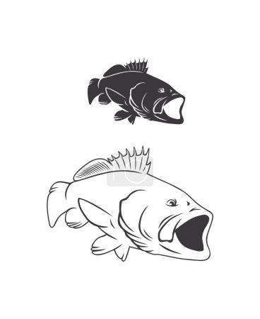 bass fish drawing