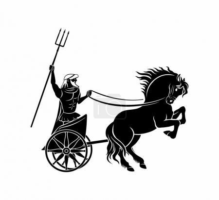 Historical warrior on horse, vector illustration...