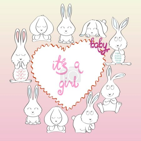 Cute hand drawn frame with cartoon bunny...