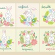 Set of cartoon bunny with various emotions....