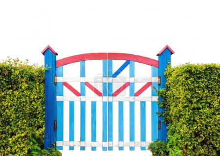 Colorful wooden garden gate isolated on white background