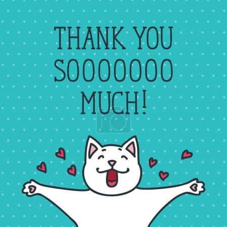 Illustration pour Illustration vectorielle dessinée à la main de chat blanc mignon sur fond pointillé - image libre de droit