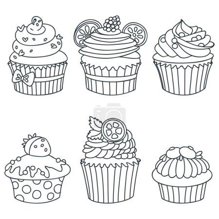 Set of cupcakes. Black-n-white Hand drawn illustra...