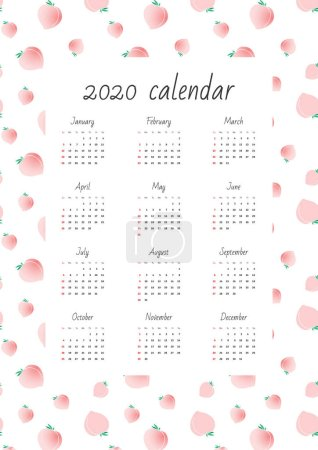Illustration for Wall calendar 2020. Monthly calendar on background of cute peach pattern. Vector illustration 8 EPS. - Royalty Free Image