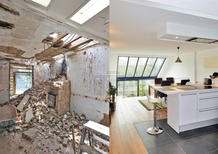Photo for Modern open kitchen in renovated house with view on a lush garden, before and after - Royalty Free Image