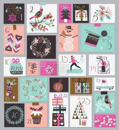 Illustration for Vector illustration design of Christmas greeting cards set - Royalty Free Image