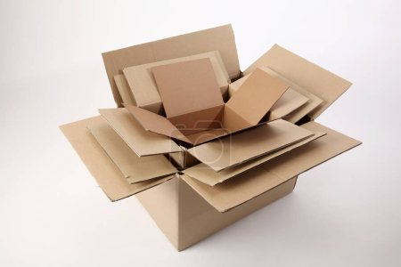 Photo for Delivery cardboard boxes on white background - Royalty Free Image
