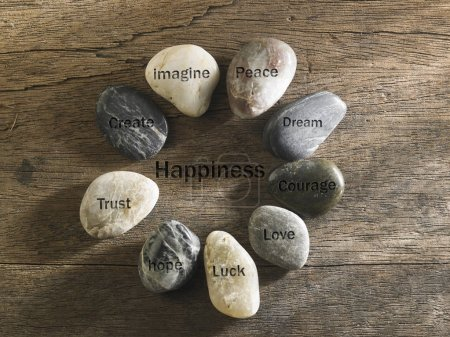 inspirational stones on table