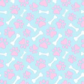Seamless pattern with animals paws and white bonesVector illustration