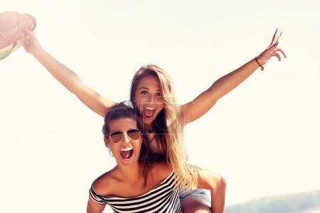 Beautiful women having fun
