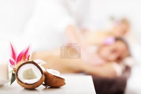 women getting massage in spa