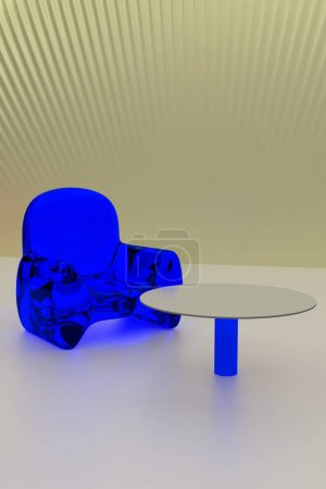 3D rendering of futuristic, transparent seating and a single table - arranged on a light surface