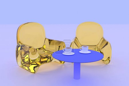 3D rendering transparent seating and a table standing on a white surface