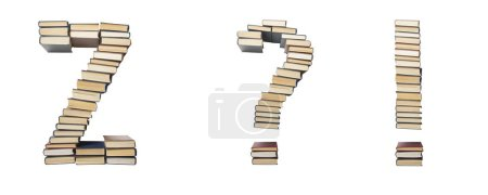 Question, exclamation mark, Z from books. Alphabet...