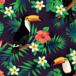 Tropical birds and palm leaves seamless background...