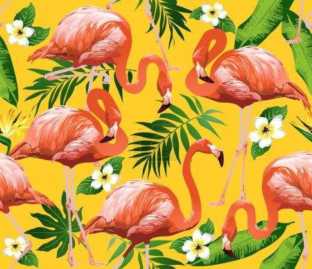 Illustration pour Flamant rose oiseau et fleurs tropicales Arrière-plan - Vecteur de motif sans couture - image libre de droit