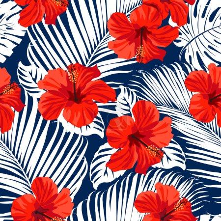 Illustration pour Fleurs tropicales et feuilles de palmier sur fond. Sans couture. Modèle vectoriel . - image libre de droit