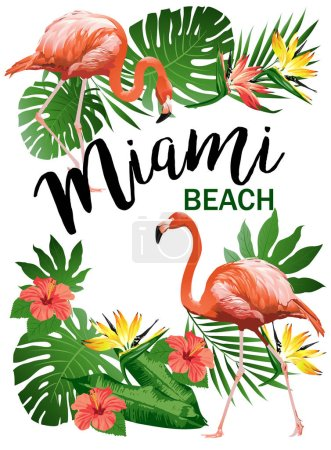 Miami Beach party Vector illustration of tropical birds, flowers, leaves.