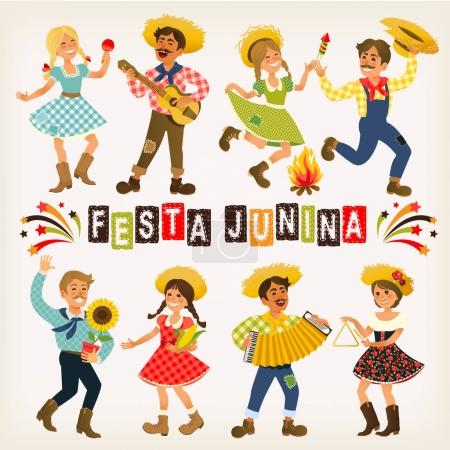 Festa Junina Brazil June Festival. Folklore Holiday. Characters. Vector Illustration.