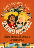 Festa Junina Brazil June Festival banner Folklore Holiday Characters Vector Illustration