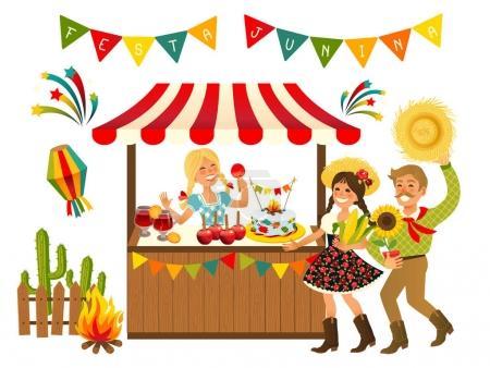 Tent Festa Junina Brazilian Apple Candy - June Party Festival. Vector Illustration.