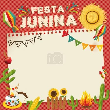 Festa Junina - Brazil June Festival. Retro Poster of Folklore Holiday. Cage Background. Vector Illustration.
